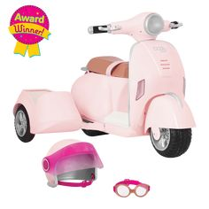 OG Ride Along Scooter is an award-winning vehicle for dolls! Features real engine and horn sounds, working headlights and brake lights, and safety gear for both doll and pooch. Toy Cars For Kids, Toys For Girls, Rangement Makeup, American Girl Doll Sets, Princess Toys, Ride Along, Kids Scooter, Journey Girls, Our Generation Dolls
