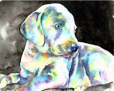Christy Freeman   WATERCOLOR   Weimaraner Puppy