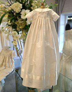like the pleats- Christening Gown Baptism Gowns Dedication Gown by CouturesbyLaura, $269.99