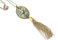 This stunning accessory features a large 40 x 30 vintage style carved look cameo that has been set into a double sided connector cabochon. Below hangs one of my beautiful hand made chain tassels. Tassel Jewelry, Jewellery, Vintage Style, Vintage Fashion, Gold Paint, Bead Caps, Beautiful Hands, Aqua Blue, Blush Pink
