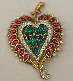 Designer: Trifari (American, founded Date: century Culture: American Old Jewelry, Heart Jewelry, Antique Jewelry, Vintage Jewelry, Fine Jewelry, Jewlery, My Funny Valentine, Valentines, Thing 1