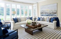 Traditional style white and blue living room decor with slipcovered sectional blue decor Blue Living Room Decor, Living Room Sets, Interior Design Chicago, Living Room Furniture Online, Loft Style, Family Room, Traditional, Home Decor, Beach House