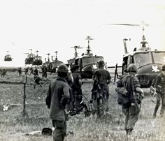 Helicopters are used to drop men at My Tien Village in a Search and Destroy Operation which will determine if enemy supply base is located in area. Men of the 199th Light Infantry Brigade, ARVN Rangers, National Police and members of Special Forces were used in this Operation. 15 October 1968. Photo by 1st Lt. Michael A. Sheets ~ Vietnam War