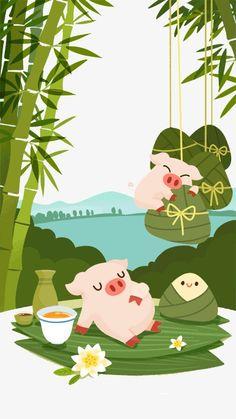 Dumpling Festival, Dragon Boat Festival, Mid Autumn Festival, Chinese New Year, Pikachu, Fictional Characters, Illustrations, Chinese New Years, Illustration