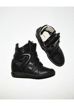 // Isabel Marant Brian Black Leather Wedge Sneakers
