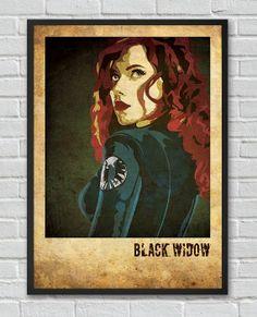 Black Widow The Avengers inspired  vintage movie by FlickGeek, $11.00