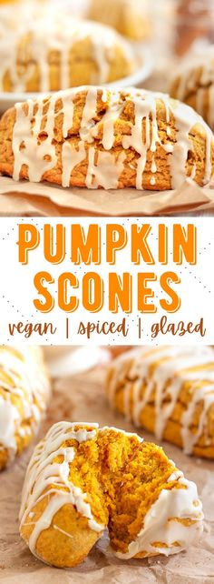 These are the best vegan pumpkin scones ever! Soft, spiced and flaky with a light drizzle on top - the perfect Starbucks copycat. #veganpumpkinscones #vegandesserts #vegandessertrecipes #veganscones Pumpkin Recipes, Fall Recipes, Vegan Pumpkin, Banana Bread Recipes, Pumpkin Spice, Apple Recipes Easy Quick, Easy Healthy Recipes, Quick Easy Meals, Crockpot Recipes