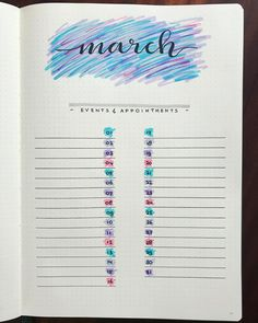 "232 Likes, 5 Comments - @my_bulletjournal_journey on Instagram: ""March monthly! Trying to get back to my bujo more regularly, in between diapers and bottles and…"""