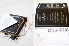artdeco-1920s-black-30s-wedding-invitations2 What do you think of this invitation look...the font specifically with the border is what creates the look...you could do this with your printer and just crisp white invitations.. (?)