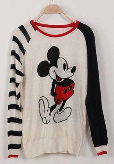 Multicolor Striped Cartoon Patchwork Irregular Cotton Blend Sweater