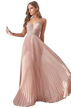 Cinderella Divine - Beaded Deep V-neck Pleated A-line Dress Pink Evening Gowns, Beautiful Evening Gowns, Beautiful Dresses, Nice Dresses, Grad Dresses, Prom Dresses Online, Bridesmaid Dresses, Rose Gold Gown, Semi Formal Dresses