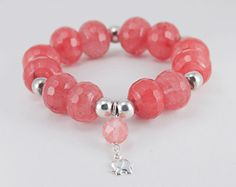 Pulsera de plata y cuarzo fresa (Silver bracelet and strawberry quartz)