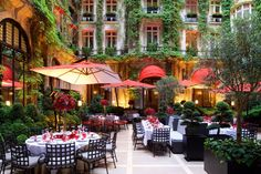 Hotel Plaza Athénée Paris Plaza Athenee Paris, Hotel Plaza, Restaurants, Paris Hotels, European Travel, Art Pictures, Beautiful Places, Around The Worlds, Patio