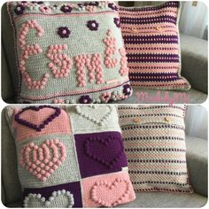 Pillows Esmée & heart in Bobble stich
