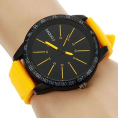 2016 New Arrival Fashion Luxury Sport Casual Yellow Black Silicone Stainless…