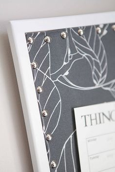 DIY decorate corkboard with fabric and pushpins