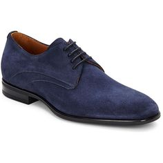 Aquatalia by Marvin K Round Toe Suede Shoes ($152) ❤ liked on Polyvore featuring men's fashion, men's shoes, men's dress shoes, navy, mens navy blue suede shoes, navy blue mens shoes, mens shoes, mens lace up shoes and mens lace up dress shoes