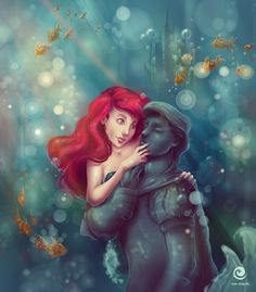 "Ariel and Eric of Disney's ""The Little Mermaid"", artwork by Ewa Geruzel, fanpage on Facebook: https://www.facebook.com/pages/Ewa-Geruzel-Illustration/172634666162117"