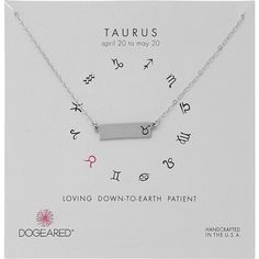 Dogeared Taurus Zodiac Bar Necklace (Sterling Silver) Necklace (41 AUD) ❤ liked on Polyvore featuring jewelry, necklaces, silver, sterling silver charm necklace, dogeared necklace, sterling silver charms, pendant charms and charm pendant