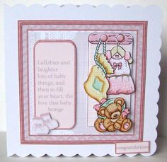 Baby girl dress and teddy card with decoupage on Craftsuprint designed by Angela Wake - made by Margaret McCartney -