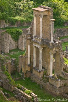 The well-preserved Roman Ruins in the town of Volterra, Tuscany, Italy.