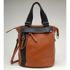 Checkout this amazing product New Sexy Brown Handbag Faux Leather Side Zipper at Shopintoit