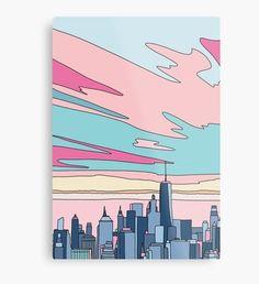 City sunset by Elebea Art Print Easy Canvas Art, Simple Canvas Paintings, Small Canvas Art, Cute Paintings, Mini Canvas Art, Acrylic Painting Canvas, Diy Painting, Aesthetic Painting, Watercolor Art