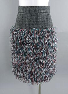Chanel 13A Edinburg Grey Wool and Ostrich Feather Runway Skirt - $7475+ new | eBay