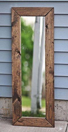 Farmhouse mirror, full length mirror custom rustic designs i Farmhouse Mirrors, Rustic Mirrors, Wood Mirror, Pallet Mirror Frame, Wood Wall, Vintage Mirrors, Wall Mirrors, Diy Mirror, Diy Frame