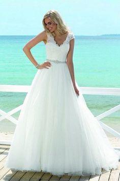 c4e6c6b81d6b75 2017 Simple White V-Neck Sleeveless Tulle Lace Beads Floor-Length Wedding  Dress