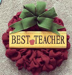 Teacher Wreath, burlap wreath