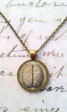 Anatomical Brain Necklace, Science Pendant, Neurology, Anatomy, Geek Chic, Art, Bezel, Chain Included, Vintage Anatomy, Gift Ideas T104