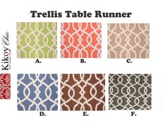 Add a touch of visual elegance to your dining room by displaying this beautiful contemporary table runner across your table. Its ultra chic, modern and made from 100% cotton. Very easy to clean. Also perfect for throwing a party or weddings.   Table Runner Features ***************************  • Listing is for Table Runner or Placemat , your choice. -Fabric Content: 100% Cotton. - Pattern:Gotcha   ****CONTACT ME Via Etsy or send me an email at KikoyChic [!at] gmail.com  Washing Instructions…