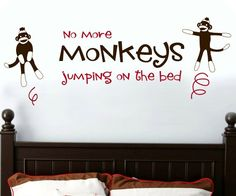 "Sock Monkeys ""Jumping On The Bed"" Wall Decal - http//www.theboysdepot/sock-monkeys-jumping-on-the-bed-wall-decal.html"