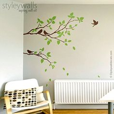 Two Spring Branches Wall Decal, Branches with Birds Wall Decal for Home Living Room Decor, Branch and Birds Wall Sticker -- Awesome products selected by Anna Churchill