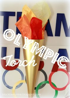 Easy Olympic Torch - Gold poster board with tissue paper. Office Olympics, Kids Olympics, Special Olympics, Summer Olympics, Olympic Crafts, Olympic Games, Royal Family Kids Camp, School Wide Themes, The Last Summer