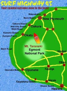 Surf Highway 45 Taranaki New Zealand Northern Island, Windsurfing, Plymouth, Beautiful World, Illusion, New Zealand, Travel Guide, Maps, National Parks