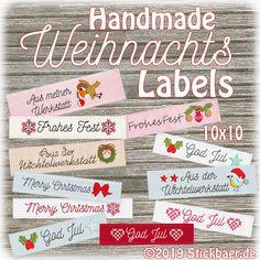 Der Stickbär | Handmade-Weihnachts-Labels | Stickmuster mit Herz