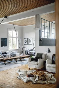 Comfy White Carpet On Scandinavian Beautiful House With Vintage Mid-Century Interior