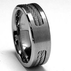 Titanium ring Wedding band with Stainless steel Cable Inlay