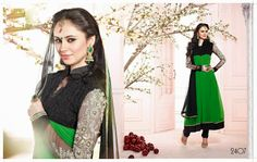 Green and Black Anarkali Suit by Brijraj 1191 collection