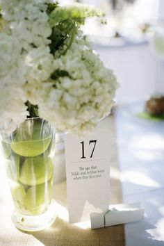 fun wedding idea- number the tables with numbers that mean somthing to you( the bride and groom ) awwwww