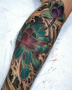 Lotus Tattoo Design, Floral Tattoo Design, Flower Tattoo Designs, Tattoo Designs Men, Flower Tattoos, Tattoos For Dog Lovers, Dog Tattoos, Tattoos For Guys, Sleeve Tattoos