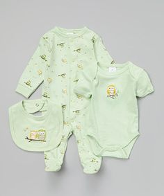 Look what I found on #zulily! Green Owl Footie Set - Infant by Kushies #zulilyfinds