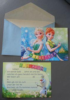 12- Frozen Anna & Elsa Eiskönigin Einladungskarten + Umschlag + Versand 6,15 € | eBay