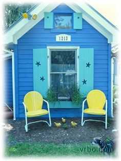 Colorful beach cottage on Tybee Island, GA