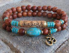 Sanskrit Mantra Meditation Genuine Turquoise set, Rosewood, Om bracelet, set of 2, Yoga set, stack bracelets, Reiki Charged, free shipping