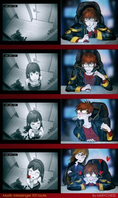 Mystic messenger 707 and MC by MeryChess <<< this shit is so cute<<< vanderwood is judging Mystic Messenger Characters, Mystic Messenger Fanart, Mystic Messenger Memes, Kik Messenger, Mystic Messenger 707 Route, Seven Mystic Messenger, Anime Love, Anime Guys, Jumin X Mc