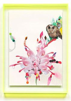 Miranda Skoczek  Animal Fantastical #12  mixed media on arches paper with perspex frame