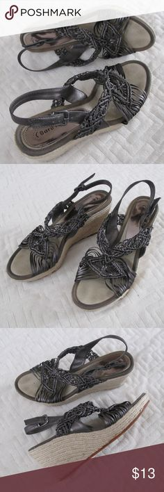 Bare Traps Platform Wedge Sandal Pewter Gray Baretraps brand metallic steel pewter grey platform wedge sandals heels. A series of woven straps with knotting, they sort of have a macrame look to them. Super comfy!   Size is 8.5, they fit true to size. Very good condition, no flaws, minimal wear.  Smoke free No trades Bundles encouraged Ask questions! :) Bear Traps Shoes Wedges